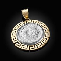 Two-Tone Yellow Gold Aztec Bezel Mayan Sun Calendar Pendant