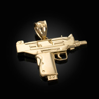 Yellow Gold Uzi Submachine Gun Pendant