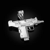 White Gold Uzi Submachine Gun Pendant