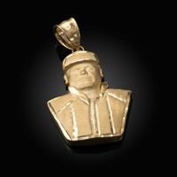 Yellow Gold El Chapo Guzman Satin DC Pendant