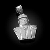 White Gold El Chapo Guzman Satin DC Pendant