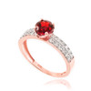 Rose Gold Diamond Pave Ruby Engagement Ring