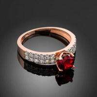 Ladies Diamond pave rose gold Engagement/Anniversary ring with genuine Ruby center stone.