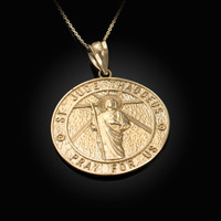 Yellow Gold St. Jude Reversible Pray Medal Pendant Necklace