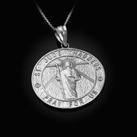 White Gold St. Jude Reversible Pray Medal Pendant Necklace