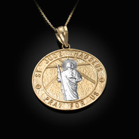 Two-Tone Yellow Gold St. Jude Reversible Pray Medal Pendant Necklace