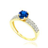Gold Diamond Pave Blue Sapphire Engagement Ring