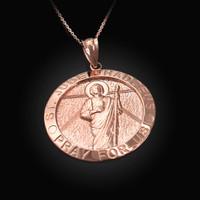 Rose Gold St. Jude Thaddeus Pendant Necklace