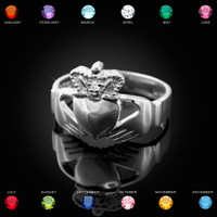 White Gold Claddagh Ring. Made in USA.
