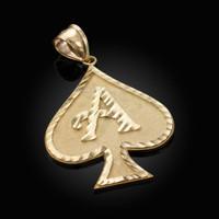 Gold Ace of Spades Hip-Hop DC Pendant