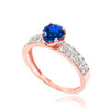 Rose Gold Diamond Pave Blue Sapphire Engagement Ring