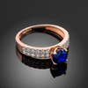 Ladies Diamond pave rose gold Engagement/Anniversary ring with Blue Sapphire center stone.