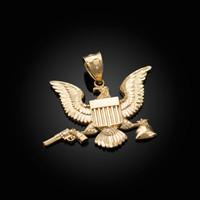 Gold Eagle Gun Money Bag Midsize DC Hip-Hop Pendant