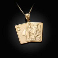 Gold Ace and King of Spades Blackjack 21 Hand Cards Charm Necklace