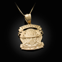 Satin Gold Firefighter Pendant Necklace