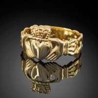 Yellow gold classic claddagh men's ring with trinity band.