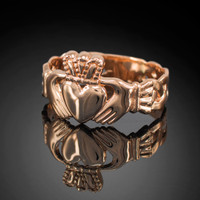 Men's rose gold classic claddagh ring with trinity band