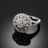 14K White Gold Celtic Knot Diamond Engagement Ring