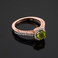 Rose Gold Peridot Halo Diamond Pave Engagement Ring