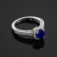 White Gold Blue Sapphire Halo Diamond Pave Engagement Ring