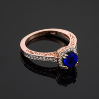 Rose Gold Blue Sapphire Halo Diamond Pave Engagement Ring
