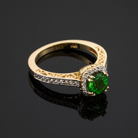 Diamond Engagement Ring with Genuine Emerald