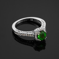White gold diamond pave Engagement ring with genuine Emerald