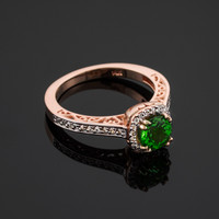 Rose Gold Emerald Halo Pave Diamond Engagement Ring