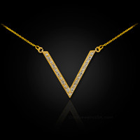 14k Gold V necklace with diamonds