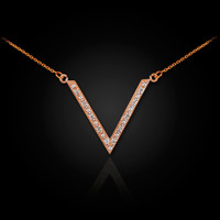 14k Rose gold diamond pave V necklace.