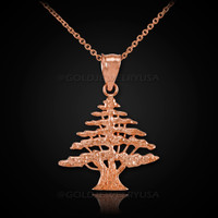 Rose Gold Cedar Tree of Lebanon Charm Necklace