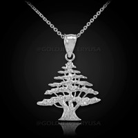 White Gold Cedar Tree of Lebanon Charm Necklace