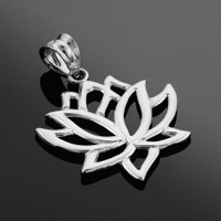 White Gold Lotus Flower Pendant