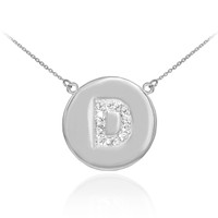 "14k White Gold Letter ""D"" Initial Diamond Disc Necklace"