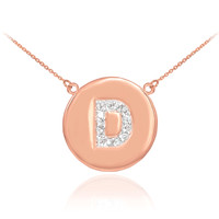 "14k Rose Gold Letter ""D"" Initial Diamond Disc Necklace"