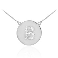 "14k White Gold Letter ""B"" Initial Diamond Disc Necklace"