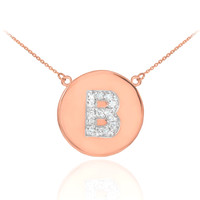 "14k Rose Gold Letter ""B"" Initial Diamond Disc Necklace"