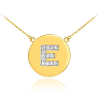 "14k Gold Letter ""E"" Initial Diamond Disc Necklace"