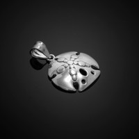 Polished White Gold Sand Dollar Pendant