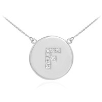 "14k White Gold Letter ""F"" Initial Diamond Disc Necklace"