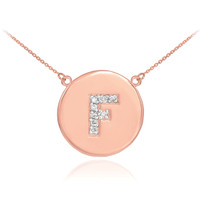 "14k Rose Gold Letter ""F"" Initial Diamond Disc Necklace"