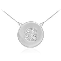 "14k White Gold Letter ""G"" Initial Diamond Disc Necklace"