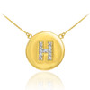 "14k Gold Letter ""H"" Initial Diamond Disc Necklace"