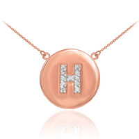 "14k Rose Gold Letter ""H"" Initial Diamond Disc Necklace"