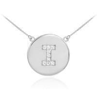 "14k White Gold Letter ""I"" Initial Diamond Disc Necklace"