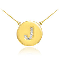 "14k Gold Letter ""J"" Initial Diamond Disc Necklace"