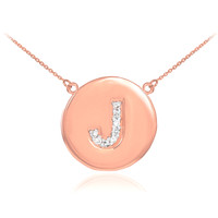"14k Rose Gold Letter ""J"" Initial Diamond Disc Necklace"