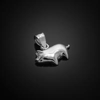 White Gold Pig Pendant