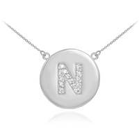 "14k White Gold Letter ""N"" Initial Diamond Disc Necklace"