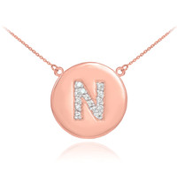 "14k Rose Gold Letter ""N"" Initial Diamond Disc Necklace"